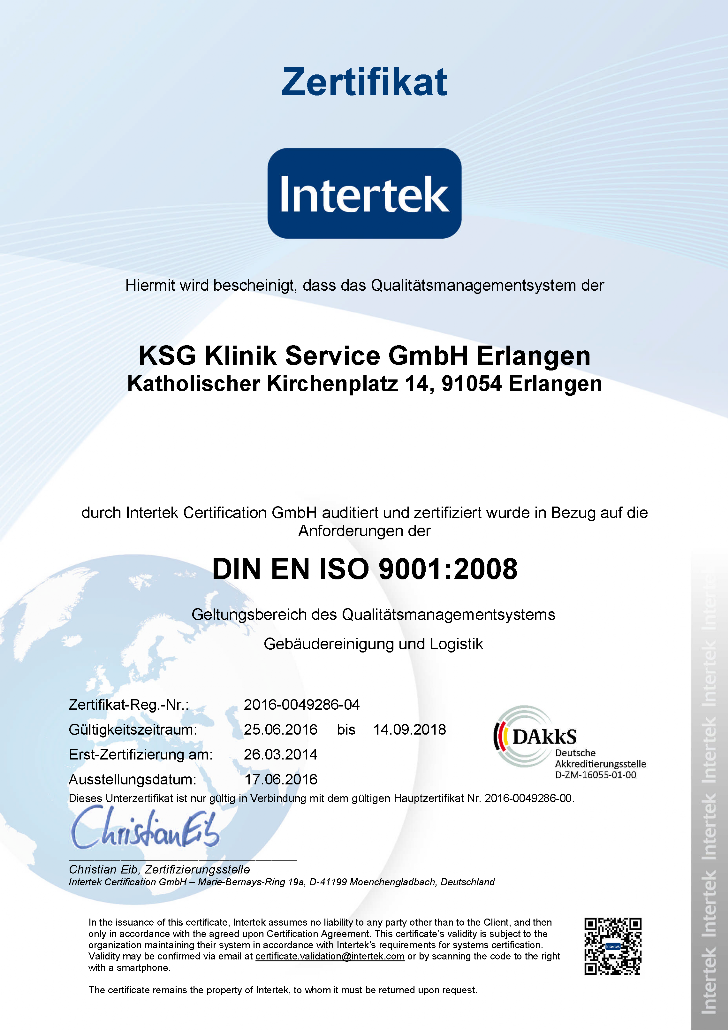 Zertifikat groß - KlinikService GMBH Erlangen